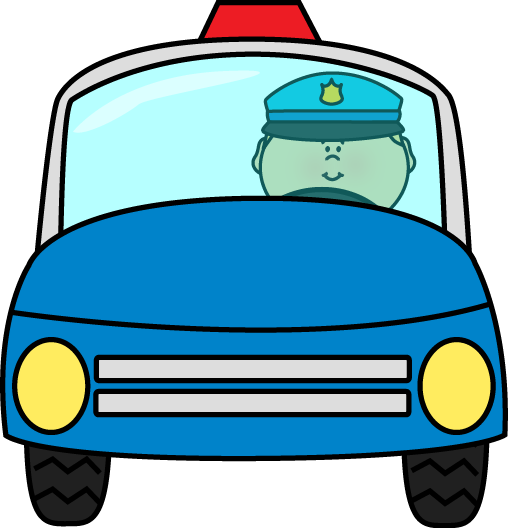 Police Officer Driving Police Car