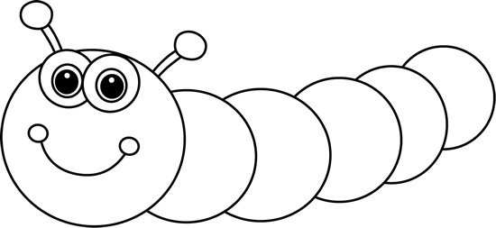 Black and White Cartoon Caterpillar