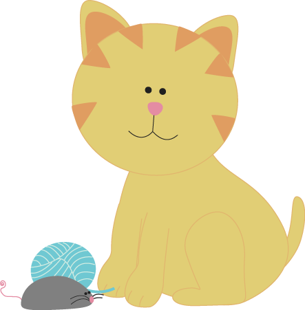 Cat with Yarn and a Toy Mouse