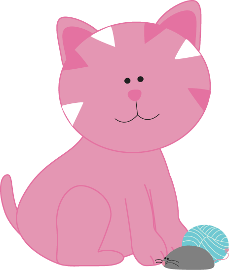 Pink Kitten with a Mouse and Yarn