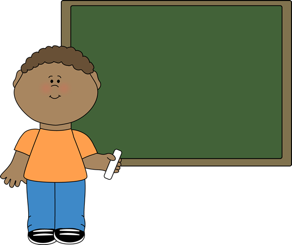 Boy at Chalkboard Clip Art - Boy at Chalkboard Image