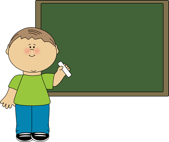Boy Pointing to Chalkboard