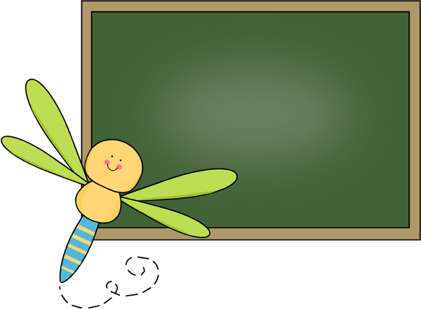 Dragonfly Chalkboard Clip Art Image - cute dragonfly at the corner of ...