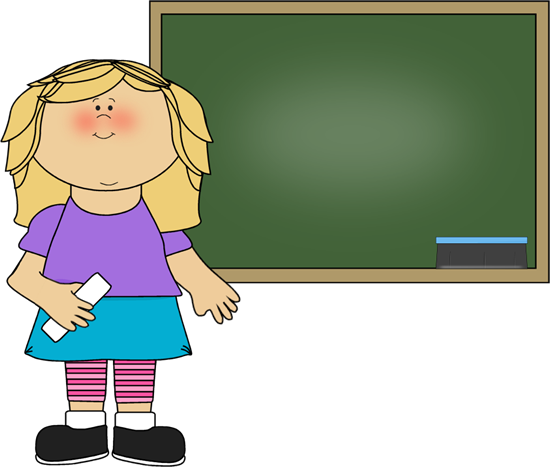 Girl standing at chalkboard clip art girl standing at for Cute whiteboard drawings