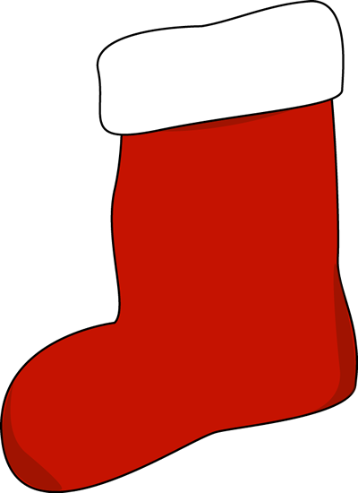 Red Stocking Clip Art - big red Christmas stocking with white trim.