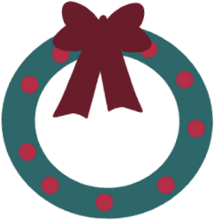 Blue and Red Christmas Wreath