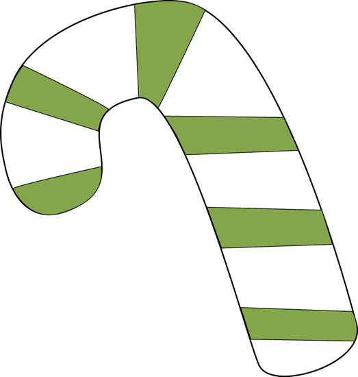 Green and White Candy Cane