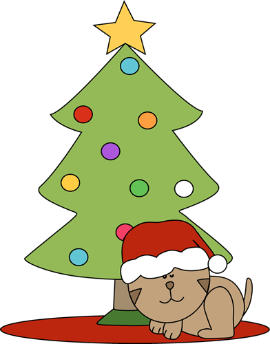 Cat Sleeping Under a Christmas Tree