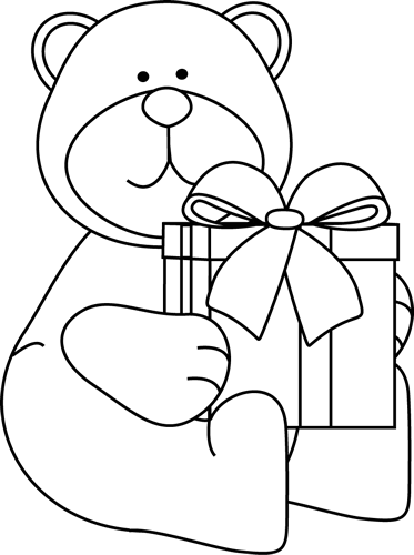 Black and White Christmas Bear with Gift