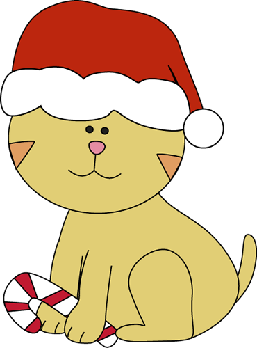 Christmas Cat with a Candy Cane