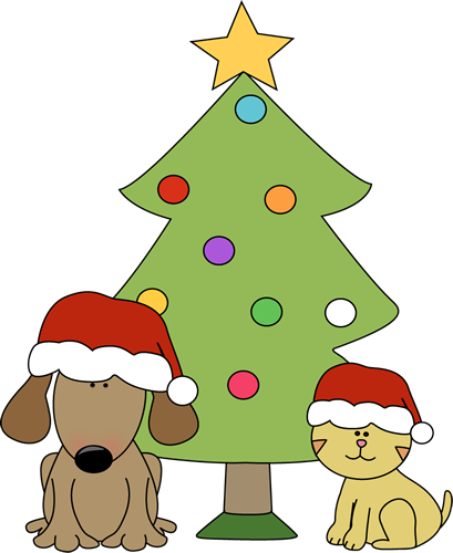 Clip Art Cute Christmas Clipart christmas clip art images dog and cat in front of tree