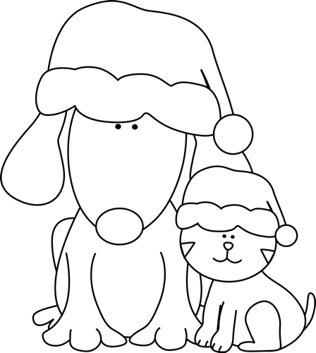 Black and White Christmas Dog and Cat Clip Art - Black and ...