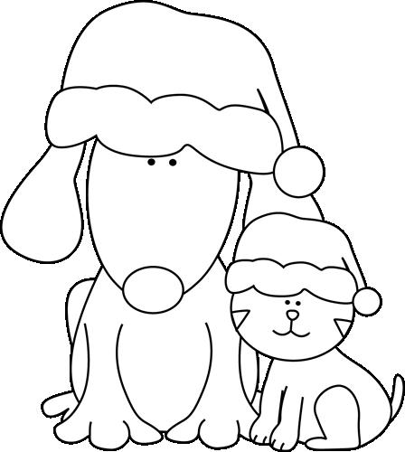 black and white cat clip art