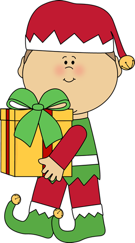 Christmas Elf Carrying a Christmas Gift
