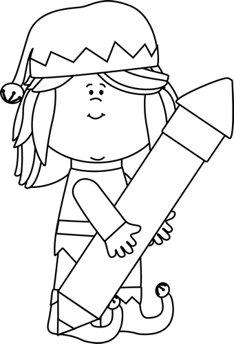 Black and White Elf Holding a Big Pencil
