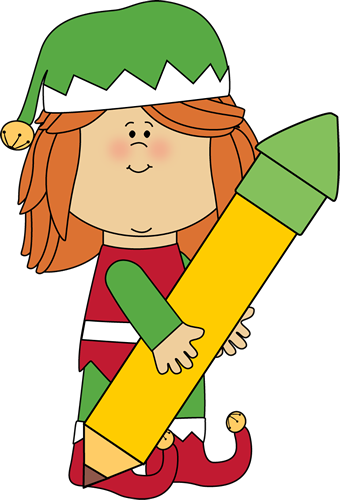 Christmas Elf Holding a Big Pencil