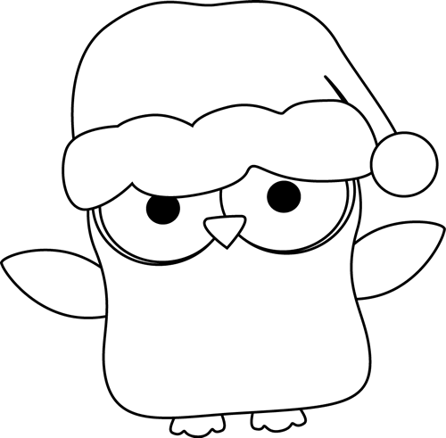 Black and White Christmas Owl
