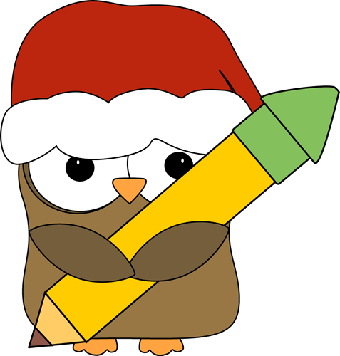 Christmas Owl Holding a Pencil
