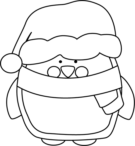 Black and White Christmas Penguin
