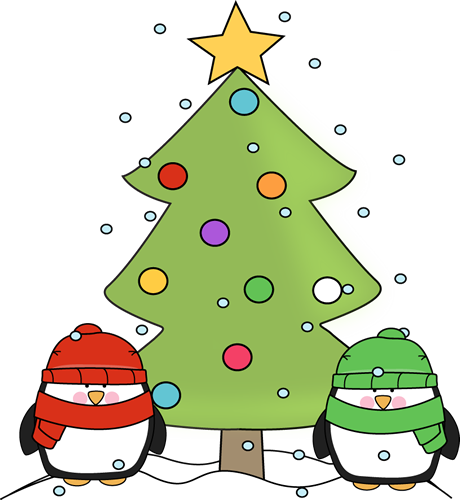 Christmas Penguins and Christmas Tree