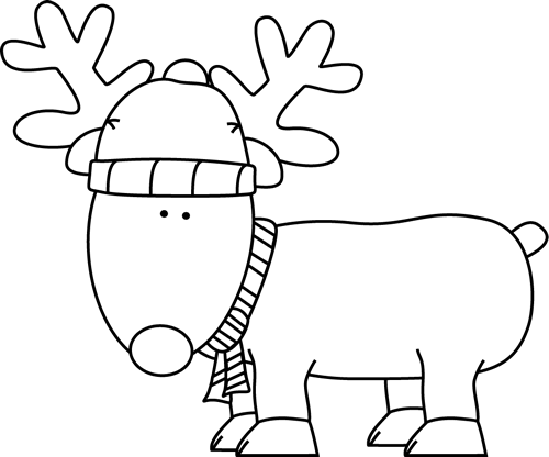 Black and White Christmas Reindeer