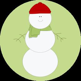 Christmas Snowman Label Clipart Image