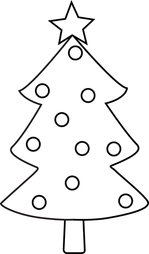Black and White Christmas Tree Clip Art - Black and White ...