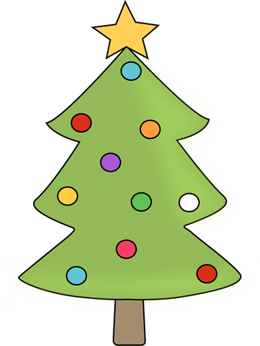 Christmas tree with colorful ornaments clip art