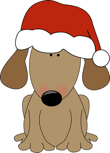 Dog wearing a santa hat clip art