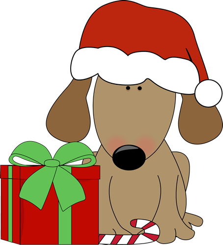 Christmas clip art christmas images dog with christmas gift and candy cane voltagebd Gallery