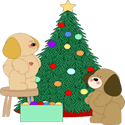 Dogs Decorating Christmas Tree