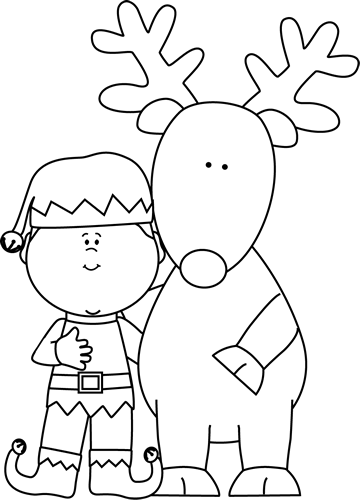 Black and White Elf and Reindeer