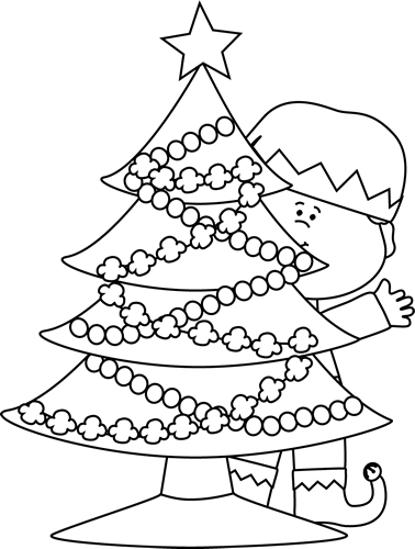 Black and White Elf Behind a Christmas Tree
