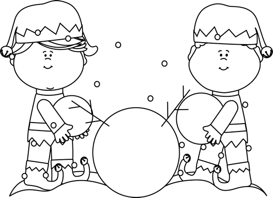 Black and White Elves Building a Snowman