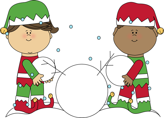 Christmas Elves Building a Snowman
