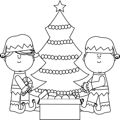 Black and White Elves Decorating a Tree