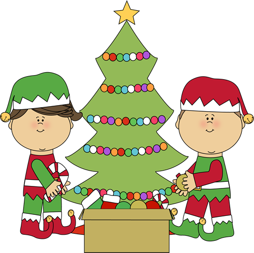 Elves Decorating a Christmas Tree