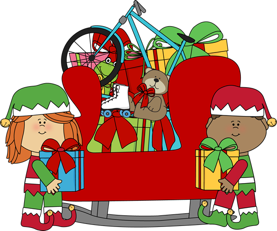 Elves Putting Toys in Santa's Sleigh