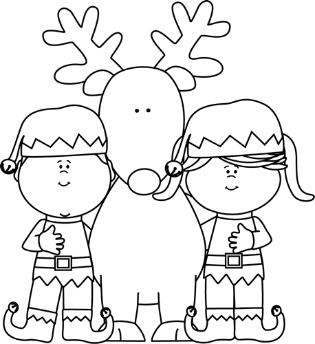 Black and White Elves with a Reindeer
