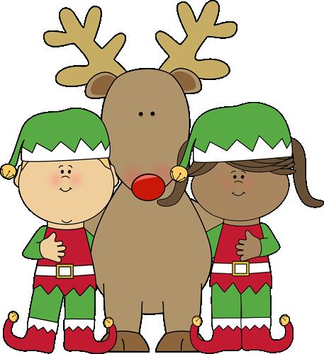 christmas elves with reindeer clip art christmas elves