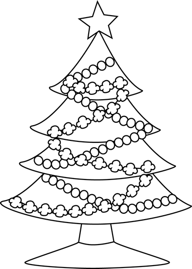 Black and White Festive Christmas Tree