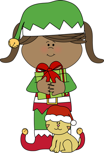 Clip Art Cute Christmas Clipart christmas clip art images girl elf with cat