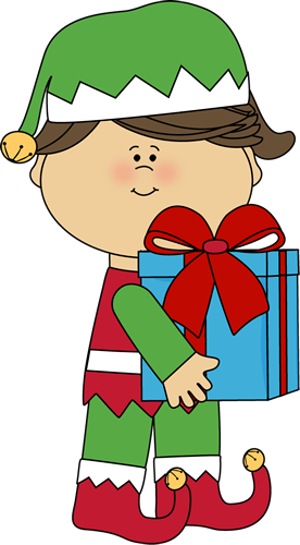 Girl Christmas Elf with Gift