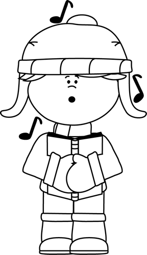 Black and White Kid Christmas Caroler