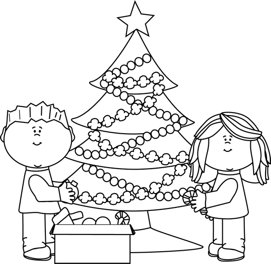 Black and White Kids Decorating Christmas Tree