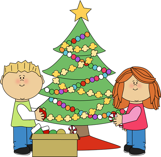 Kids Decorating a Christmas Tree Clip Art - Kids ...