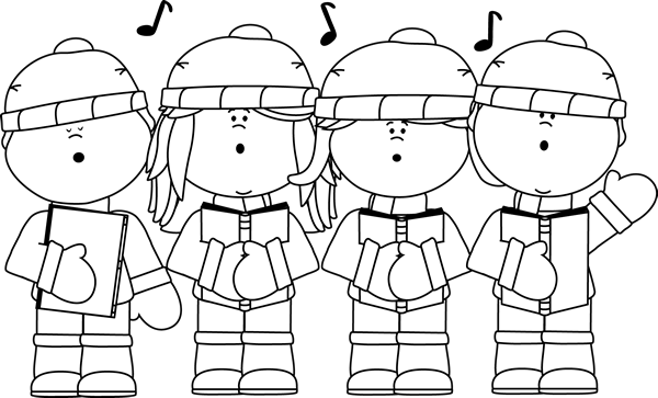 Black and White Christmas Carolers Clip Art - Black and White Christmas Carolers Image