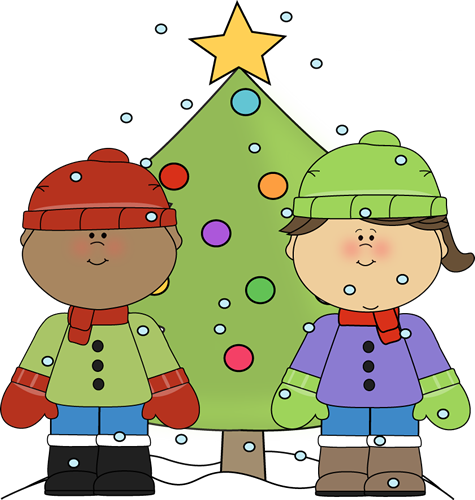 Little Boy and Girl with a Christmas Tree in the Snow