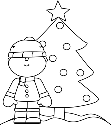 Christmas Tree Clipart Black And White.Black And White Boy With Christmas Tree Clip Art Black And