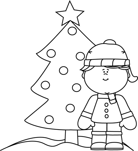 Black And White Girl Christmas Tree In The Snow